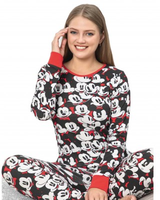 Turkish Women Pajamas, Autumn Interlock Pajamas, Two Pieces Mickey Mouse PJS