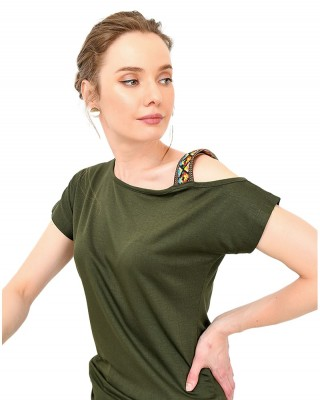 Casual Short Sleeve Shirt, Boat Neck Blouse Tops, Off One Shoulder Shirt