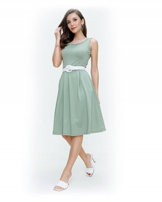 Midi Dress, Knee Length Casual Style Women Dress